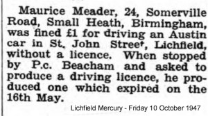 From the Lichfield Mercury 1947 courtesy of Terry Carter Birmingham History Forum